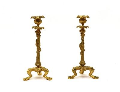 Lot 80 - A pair of late 19th century gilt bronze lizard and grape candlesticks