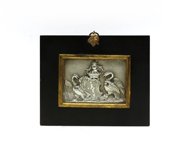 Lot 69 - A small 19th century embossed silver coat of arms