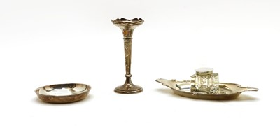 Lot 39 - A silver inkstand, a specimen vase and a dish