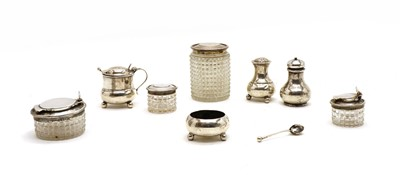 Lot 48 - Silver items, comprising a three piece cruet set by Atkin Brothers (HA) Sheffield 1919