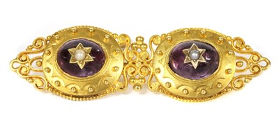Lot 2 - A gold amethyst and split pearl brooch