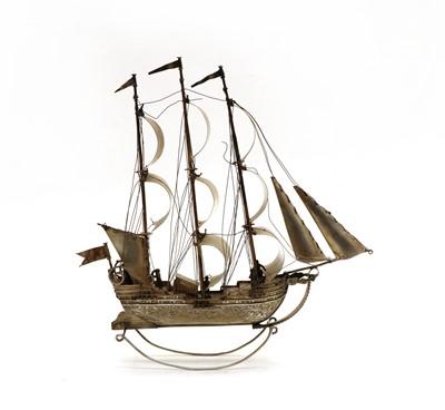 Lot 10 - A Dutch silver model of a tall ship