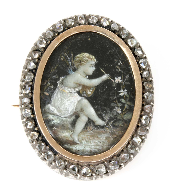 Lot 19 - A Victorian hand painted diamond set memorial brooch