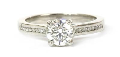 Lot 64 - A platinum single stone diamond ring