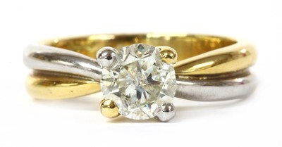 Lot 41 - An 18ct two colour gold single stone diamond ring