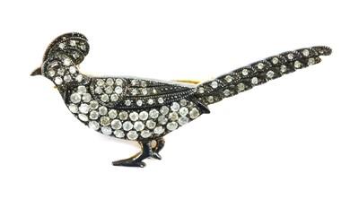 Lot 61 - A silver diamond set pheasant brooch