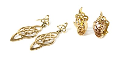 Lot 101 - A pair of 9ct gold pierced clip earrings