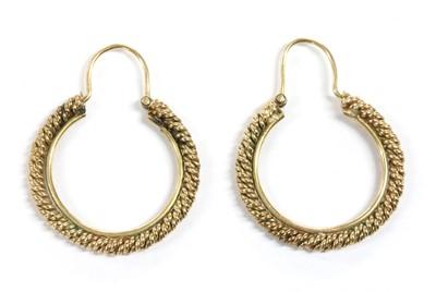 Lot 100 - A pair of gold hoop earrings