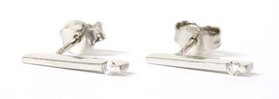 Lot 80 - A pair of 18ct white gold diamond set stud earrings