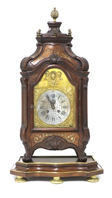 Lot 25A - A French mahogany and brass inlaid table clock on stand