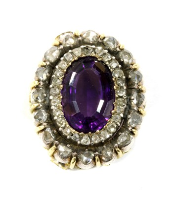 Lot 3 - A Victorian amethyst and diamond oval cluster head
