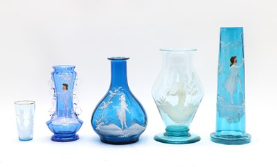 Lot 67 - A collection of blue 'Mary Gregory' glass ware