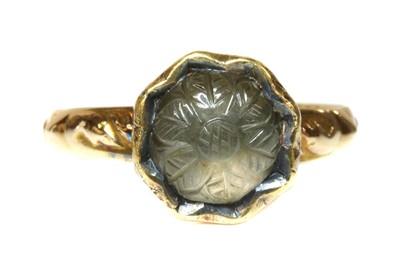 Lot 1 - An antique single stone smoky quartz ring
