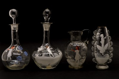 Lot 74 - A collection of clear glass 'Mary Gregory' items