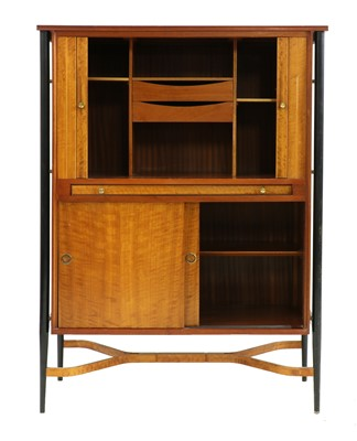 Lot 384 - A teak and maple cocktail cabinet