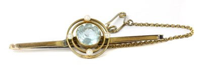 Lot 5 - A 9ct gold aquamarine and seed pearl brooch