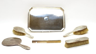 Lot 60 - A George V silver dressing table tray