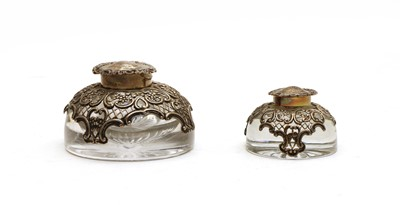 Lot 17 - A Victorian silver mounted glass inkwell