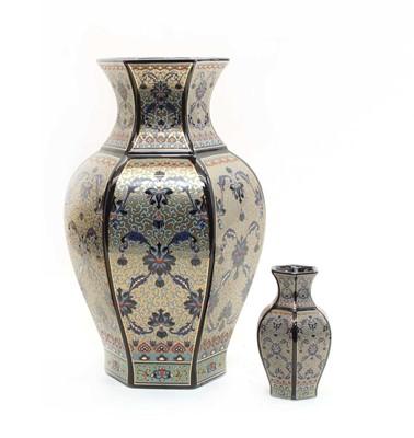 Lot 113 - A large blue glazed porcelain vase of Persian design