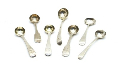 Lot 21 - A pair of George III silver old English pattern salt spoons