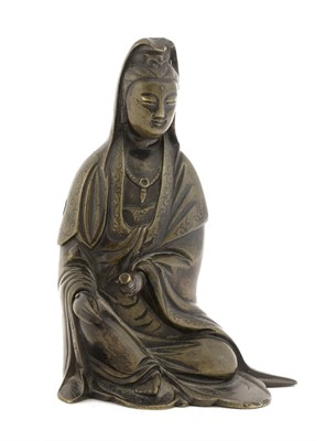 Lot 117 - A Chinese bronze Guanyin