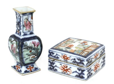 Lot 32 - A Chinese famille rose seal box
