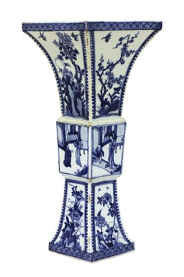 Lot 10 - A Chinese blue and white 'erotic' gu vase