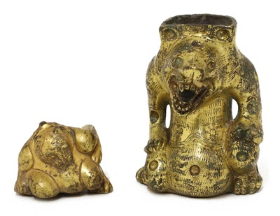 Lot 121 - A Chinese gilt-bronze support fitting