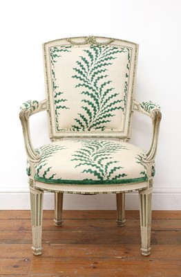 Lot 416 - A French Louis XVI-style painted fauteuil
