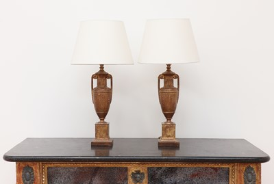Lot 407 - A pair of gilt-spelter urn form table lamps