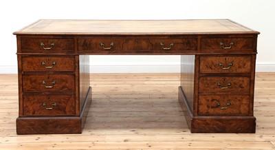 Lot 417 - A large Victorian walnut partners' desk