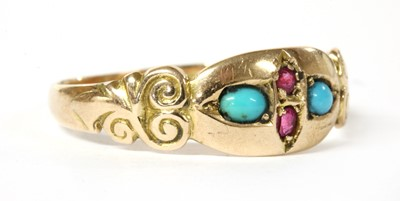 Lot 17 - An Edwardian 9ct gold ruby and turquoise ring