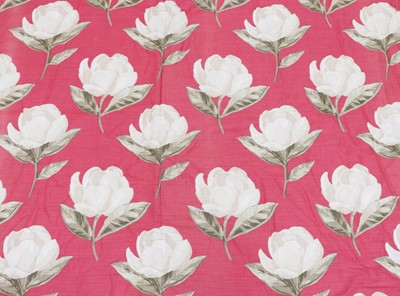 Lot 110 - A pair of pink floral interlined curtains