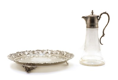 Lot 98 - A Victorian silver plate and etched glass claret jug