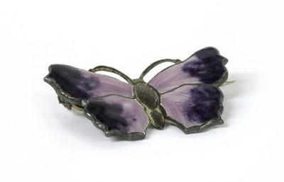 Lot 40 - A silver enamel butterfly brooch