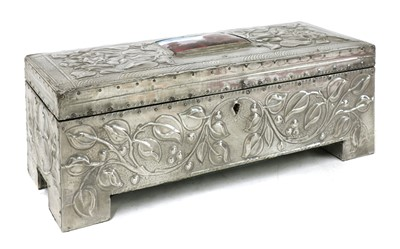 Lot 78 - An Arts and Crafts pewter jewellery box