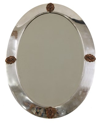 Lot 79 - An Arts and Crafts silver-plated wall mirror