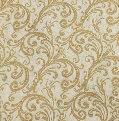 Lot 143 - Two pairs of brocaded yellow silk interlined curtains