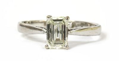 Lot 111 - An 18ct white gold single stone emerald cut diamond ring