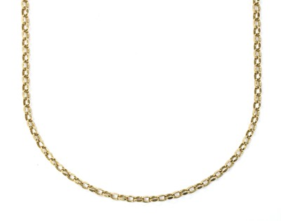 Lot 65 - A 9ct gold oval faceted belcher link necklace