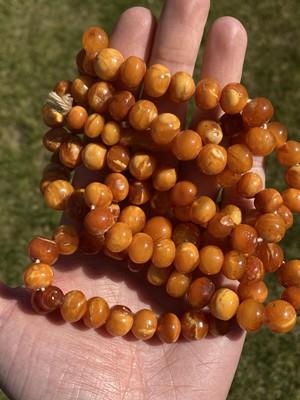 Lot 27 - A single row slightly graduated butterscotch amber prayer bead necklace