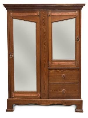 Lot 59 - An Arts and Crafts oak mirrored wardrobe