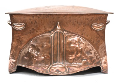 Lot 58 - An Arts and Crafts embossed copper coal scuttle
