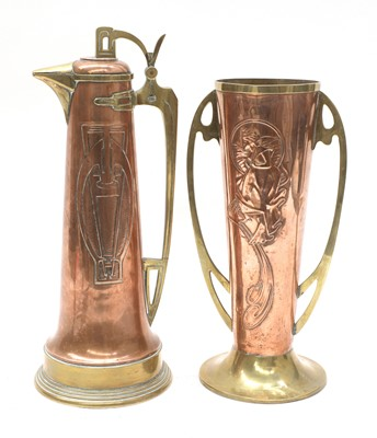 Lot 4 - A secessionist copper ewer and cover