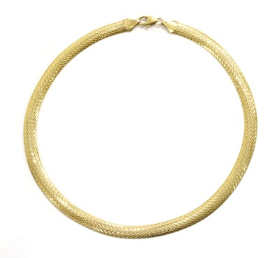 Lot 62 - A 9ct gold herringbone link necklace