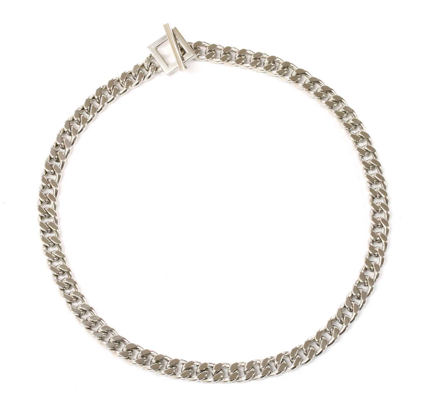Lot 72 - A 9ct white gold hollow curb link necklace