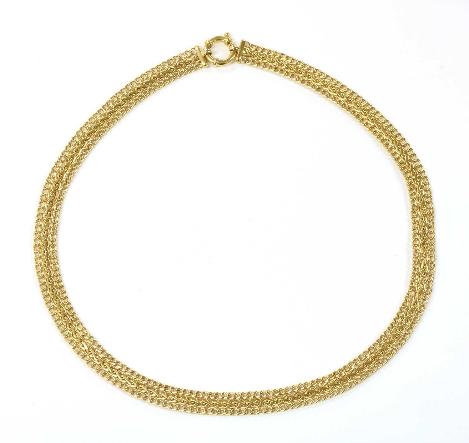 Lot 64 - A 9ct gold three row necklace