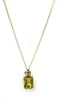 Lot 185 - A 9ct gold single stone citrine pendant