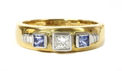 Lot 171 - An 18ct gold diamond and tanzanite ring, by Clogau