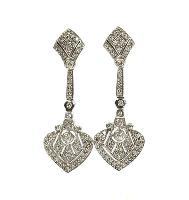 Lot 120 - A pair of Art Deco-style 9ct white gold diamond drop earrings